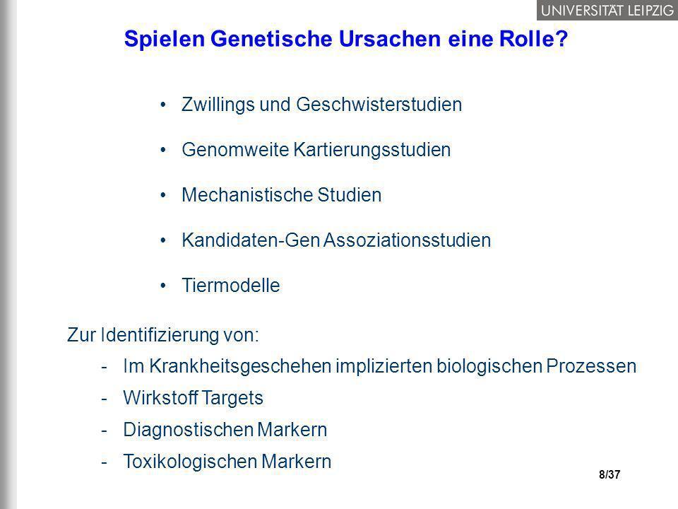 8/37 Spielen Genetische Ursachen eine Rolle? Zwillings und Geschwisterstudien Genomweite Kartierungsstudien Mechanistische Studien Kandidaten-Gen Asso
