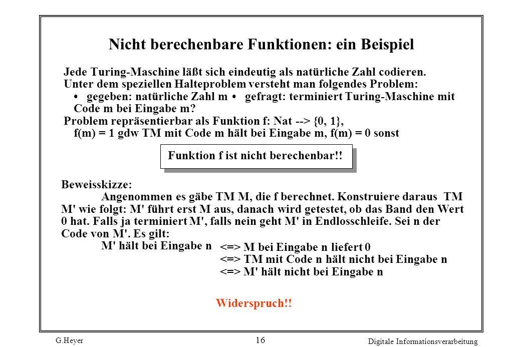 G.Heyer Digitale Informationsverarbeitung 16 Nicht berechenbare Funktionen: ein Beispiel Jede Turing-Maschine läßt sich eindeutig als natürliche Zahl