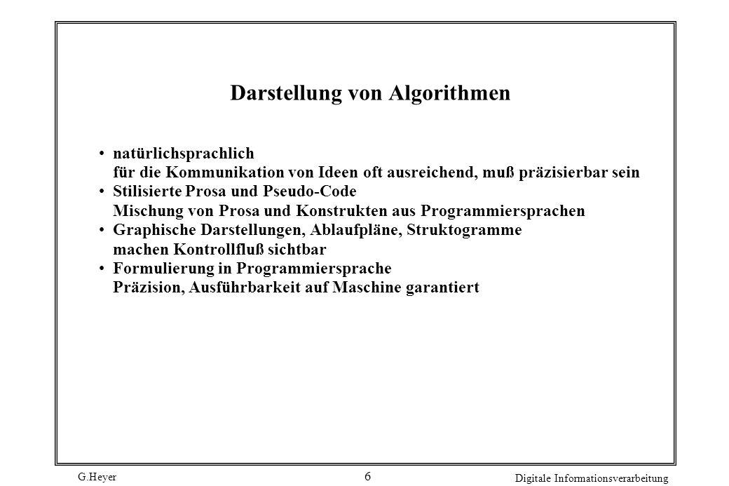 G.Heyer Digitale Informationsverarbeitung 7 Berechenbarkeit Wann ist eine Funktion (über den natürlichen Zahlen) berechenbar.