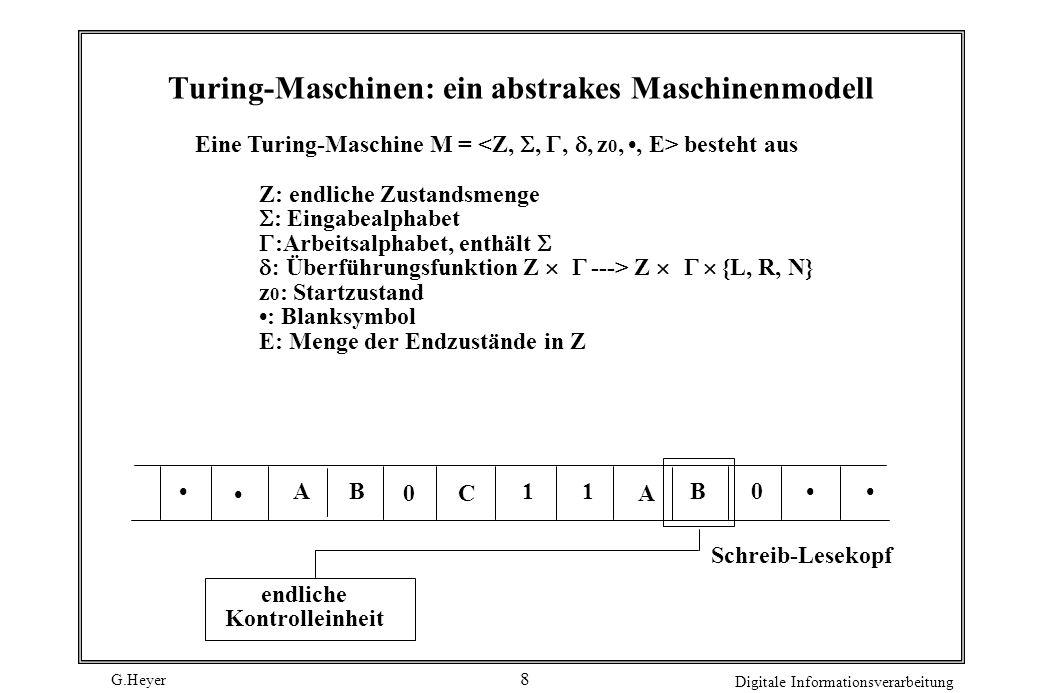 G.Heyer Digitale Informationsverarbeitung 9 Berechnungen einer TM Eingabe steht auf Band, pro Feld ein Symbol SL-Kopf auf dem am weitesten links stehenden Eingabesymbol S Zustand ist Anfangszustand In Abhängigkeit von Zustand und gelesenem Symbol gibt an Nachfolgezustand, auf Band geschriebenes neues Symbol, Bewegungsrichtung (Links, Rechts, Nicht bewegen) Maschine führt so lange Aktionen aus, bis Zustand aus E erreicht wird Ausgabe steht nun auf Band Eine Funktion heißt Turing-berechenbar, wenn es eine Turing- Maschine gibt, die sie (im genannten Sinn) berechnet.