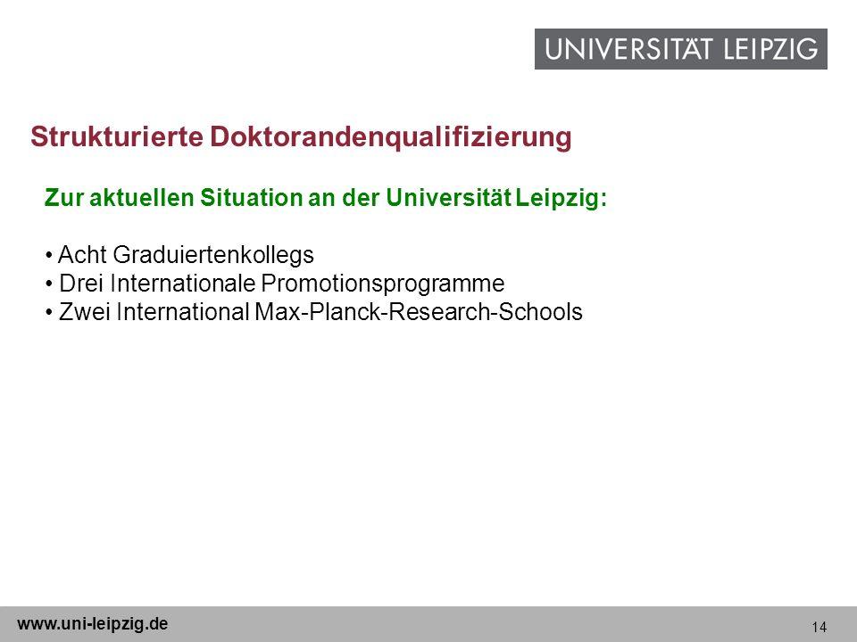 14 www.uni-leipzig.de Zur aktuellen Situation an der Universität Leipzig: Acht Graduiertenkollegs Drei Internationale Promotionsprogramme Zwei Interna