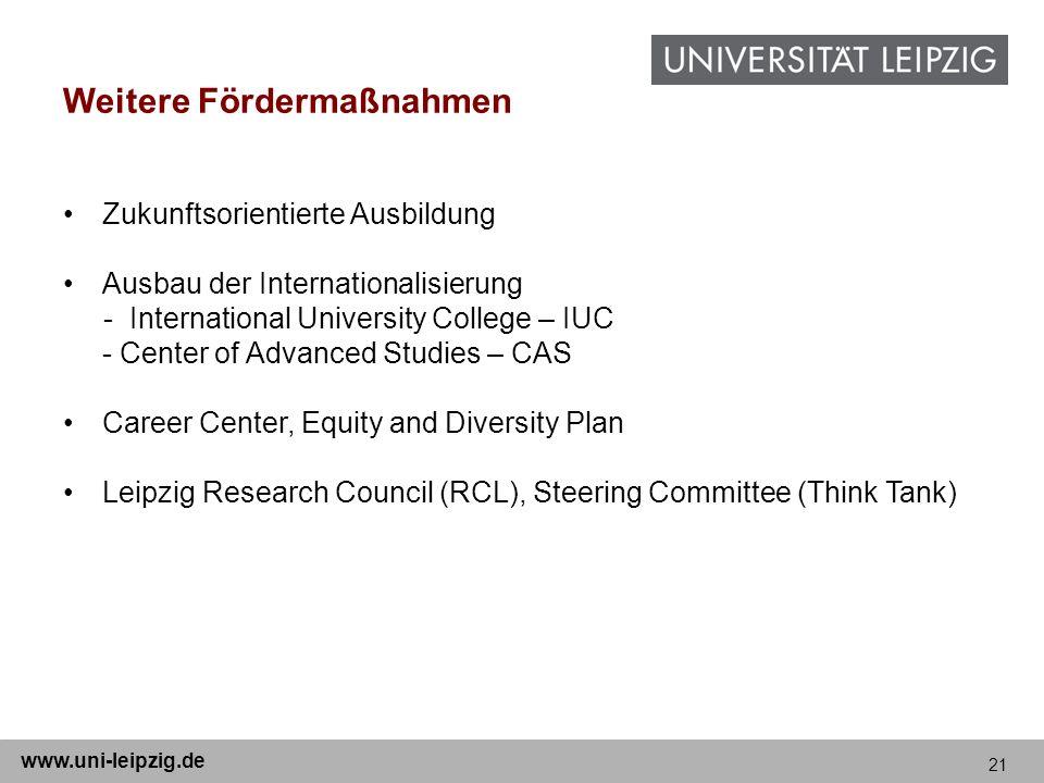 21 www.uni-leipzig.de Weitere Fördermaßnahmen Zukunftsorientierte Ausbildung Ausbau der Internationalisierung - International University College – IUC