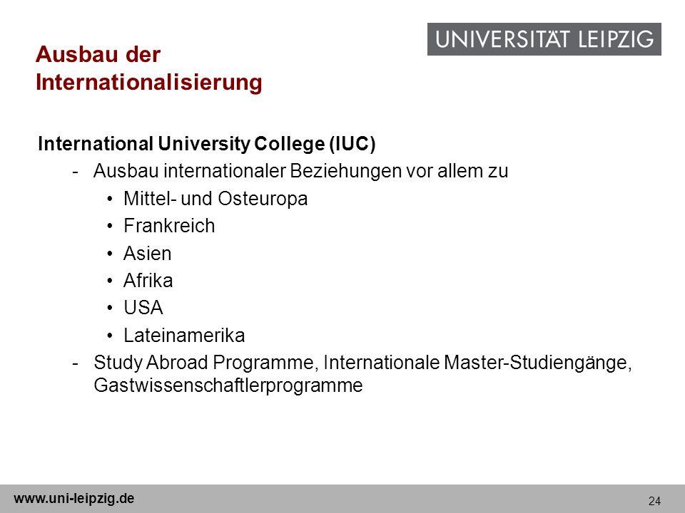 24 www.uni-leipzig.de Ausbau der Internationalisierung International University College (IUC) -Ausbau internationaler Beziehungen vor allem zu Mittel-