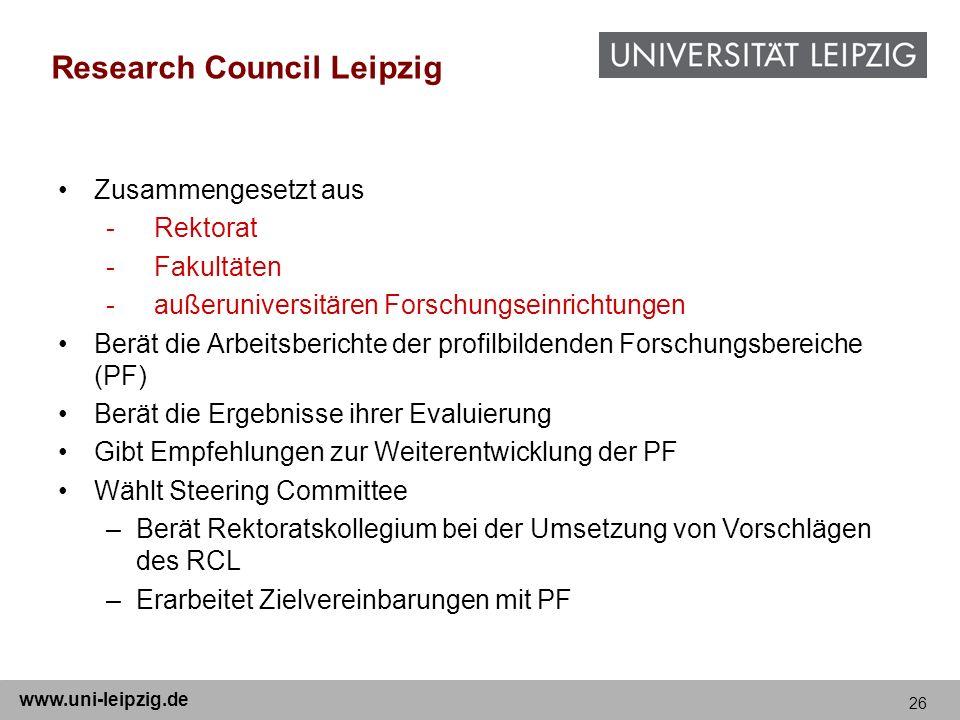 26 www.uni-leipzig.de Research Council Leipzig Zusammengesetzt aus -Rektorat -Fakultäten -außeruniversitären Forschungseinrichtungen Berät die Arbeits