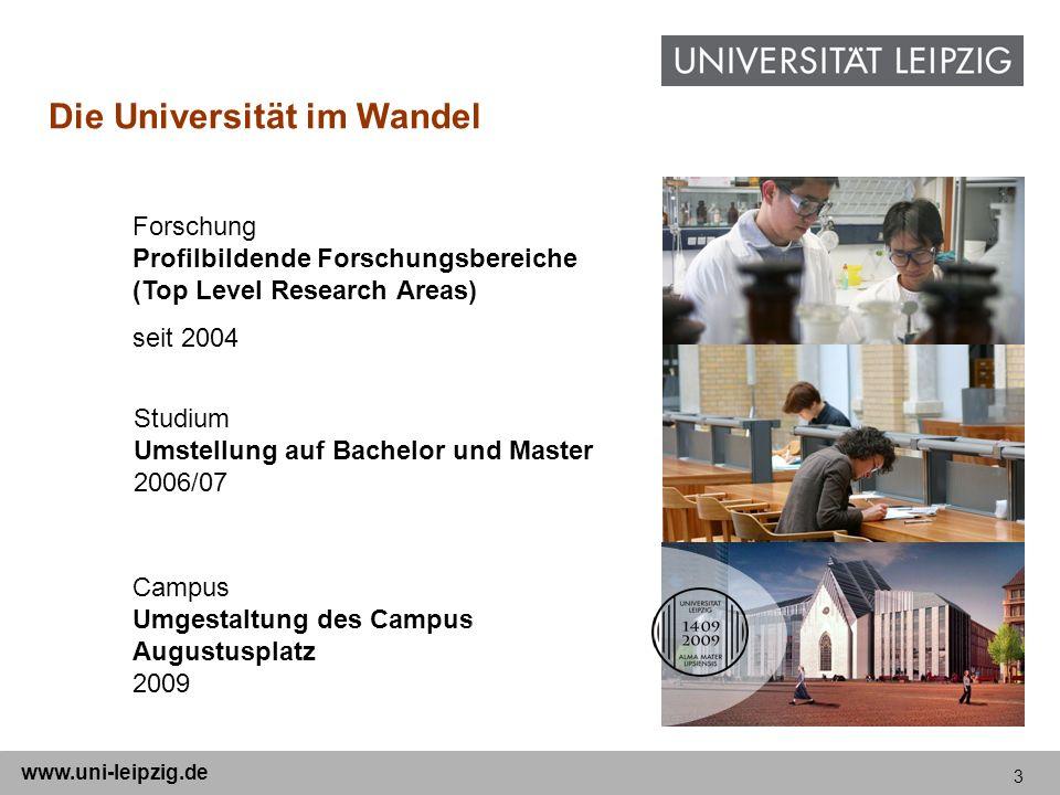 3 www.uni-leipzig.de Campus Umgestaltung des Campus Augustusplatz 2009 Forschung Profilbildende Forschungsbereiche (Top Level Research Areas) seit 200