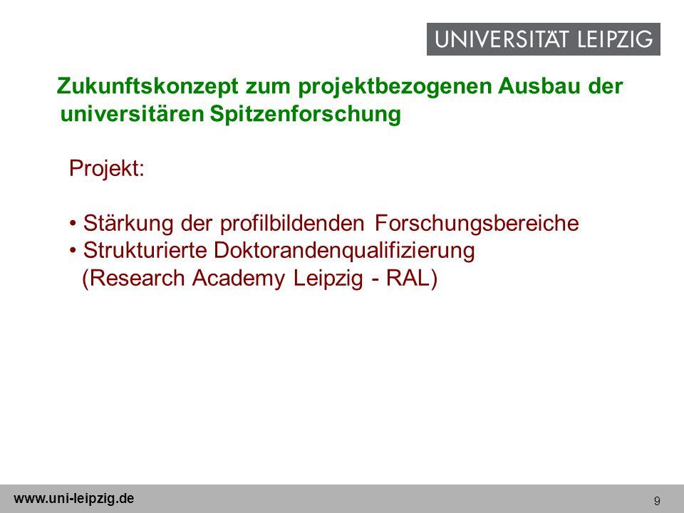 9 www.uni-leipzig.de Zukunftskonzept zum projektbezogenen Ausbau der universitären Spitzenforschung Projekt: Stärkung der profilbildenden Forschungsbe