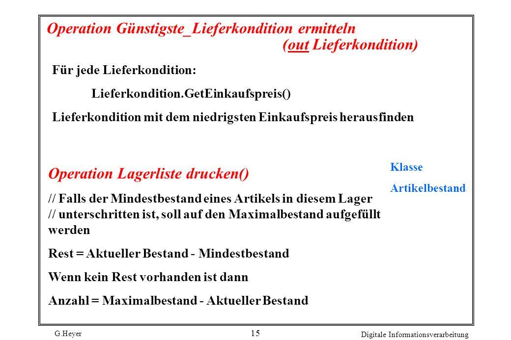 G.Heyer Digitale Informationsverarbeitung 15 Operation Günstigste_Lieferkondition ermitteln (out Lieferkondition) Für jede Lieferkondition: Lieferkond