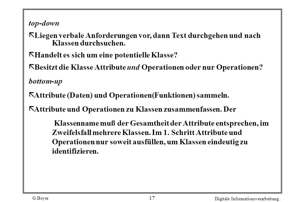 G.Heyer Digitale Informationsverarbeitung 17 top-down ã Liegen verbale Anforderungen vor, dann Text durchgehen und nach Klassen durchsuchen. ã Handelt