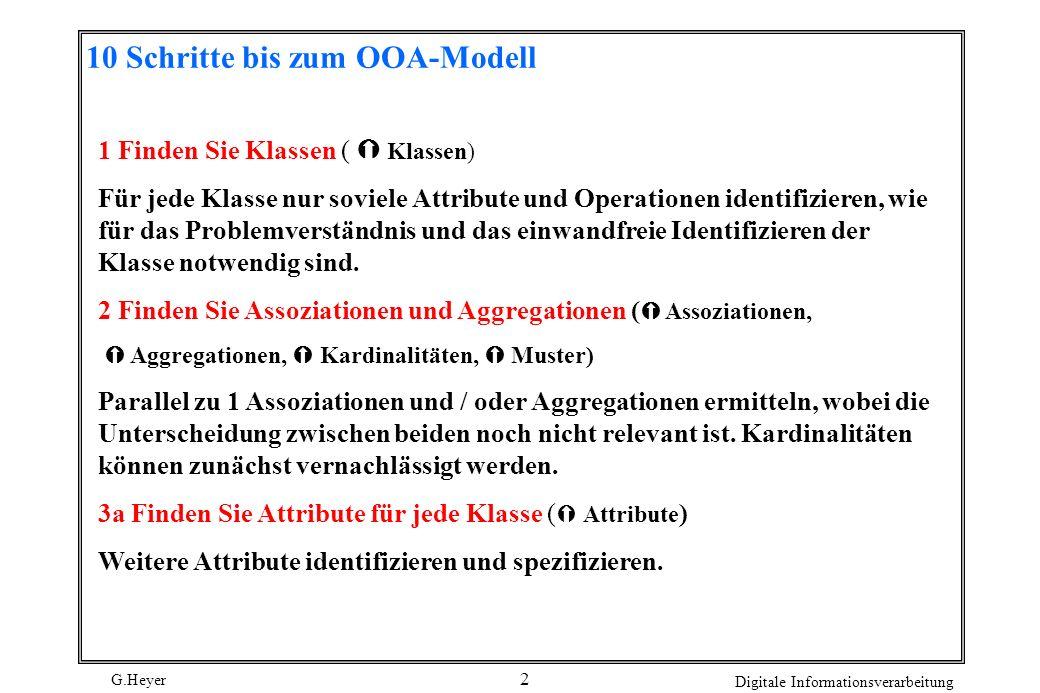 G.Heyer Digitale Informationsverarbeitung 2 10 Schritte bis zum OOA-Modell 1 Finden Sie Klassen ( Klassen) Für jede Klasse nur soviele Attribute und O