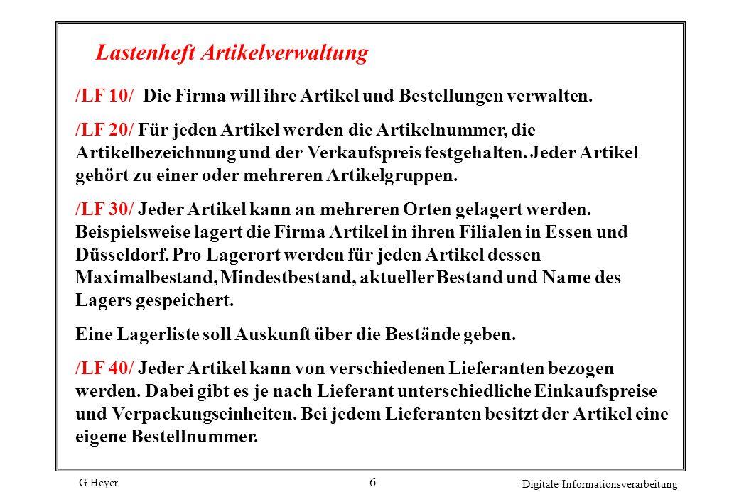 G.Heyer Digitale Informationsverarbeitung 6 Lastenheft Artikelverwaltung /LF 10/ Die Firma will ihre Artikel und Bestellungen verwalten. /LF 20/ Für j