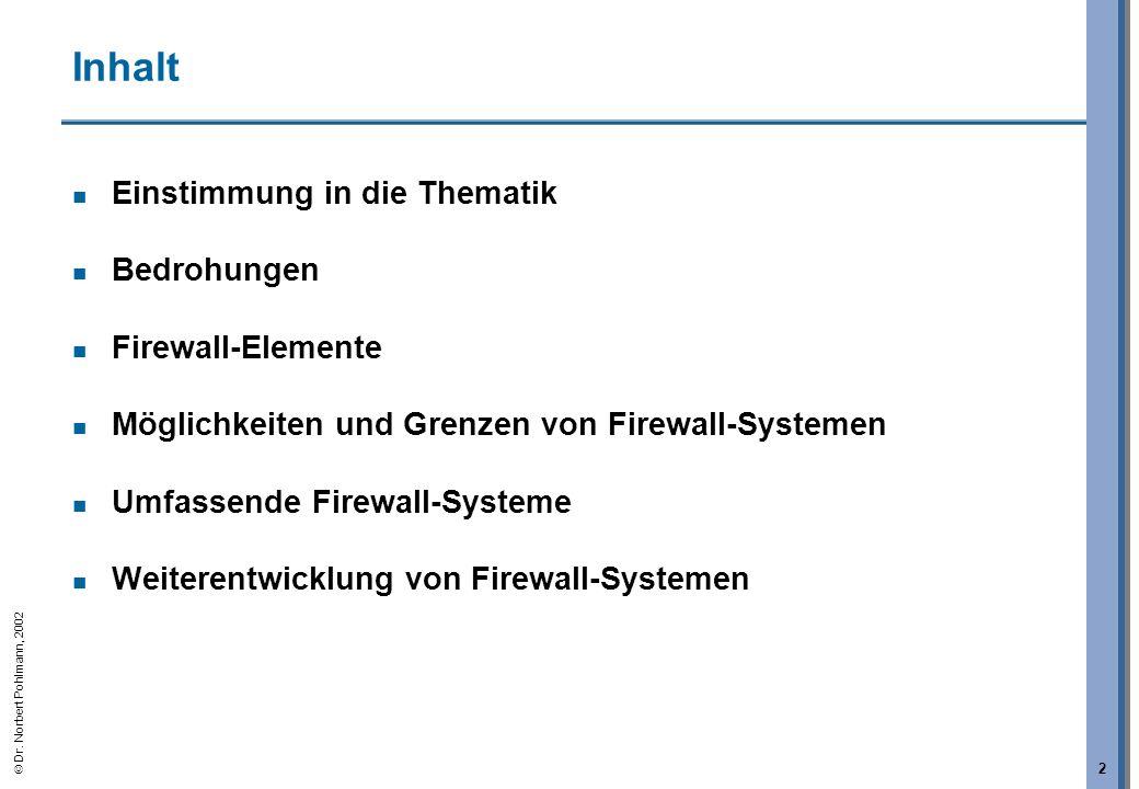 Dr. Norbert Pohlmann, 2002 2 Inhalt Einstimmung in die Thematik Bedrohungen Firewall-Elemente Möglichkeiten und Grenzen von Firewall-Systemen Umfassen
