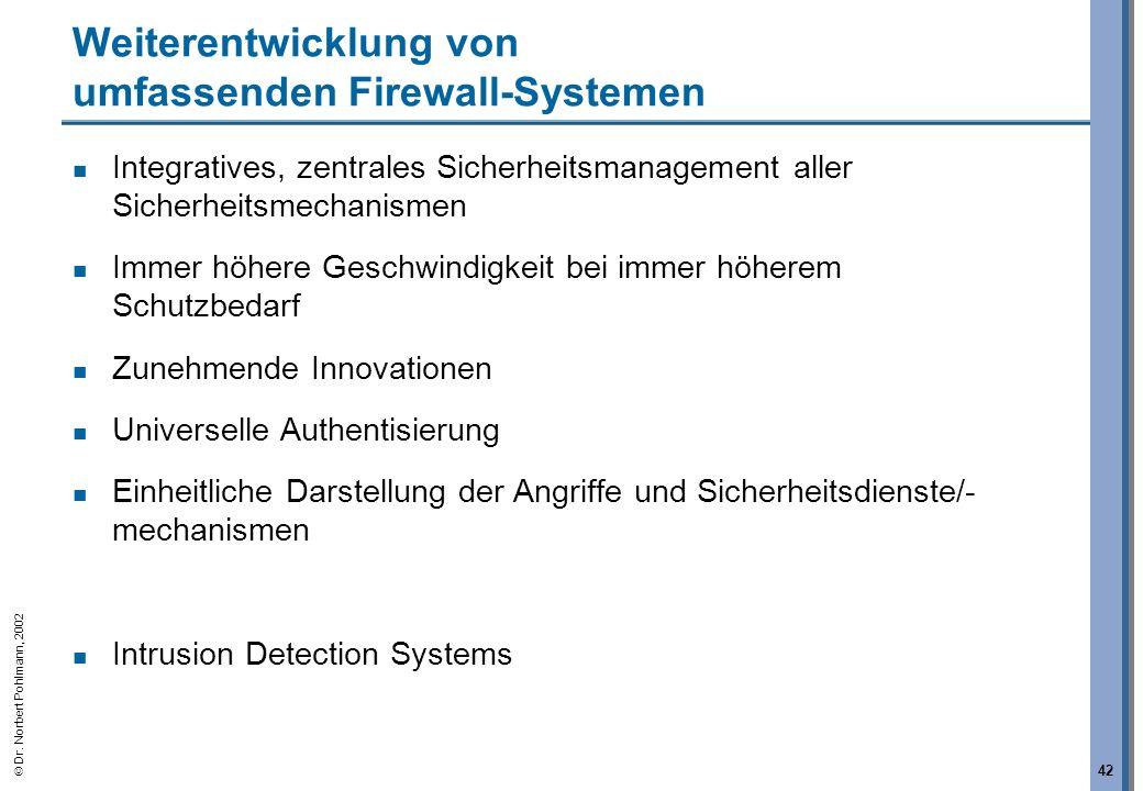 Dr. Norbert Pohlmann, 2002 42 Weiterentwicklung von umfassenden Firewall-Systemen Integratives, zentrales Sicherheitsmanagement aller Sicherheitsmecha