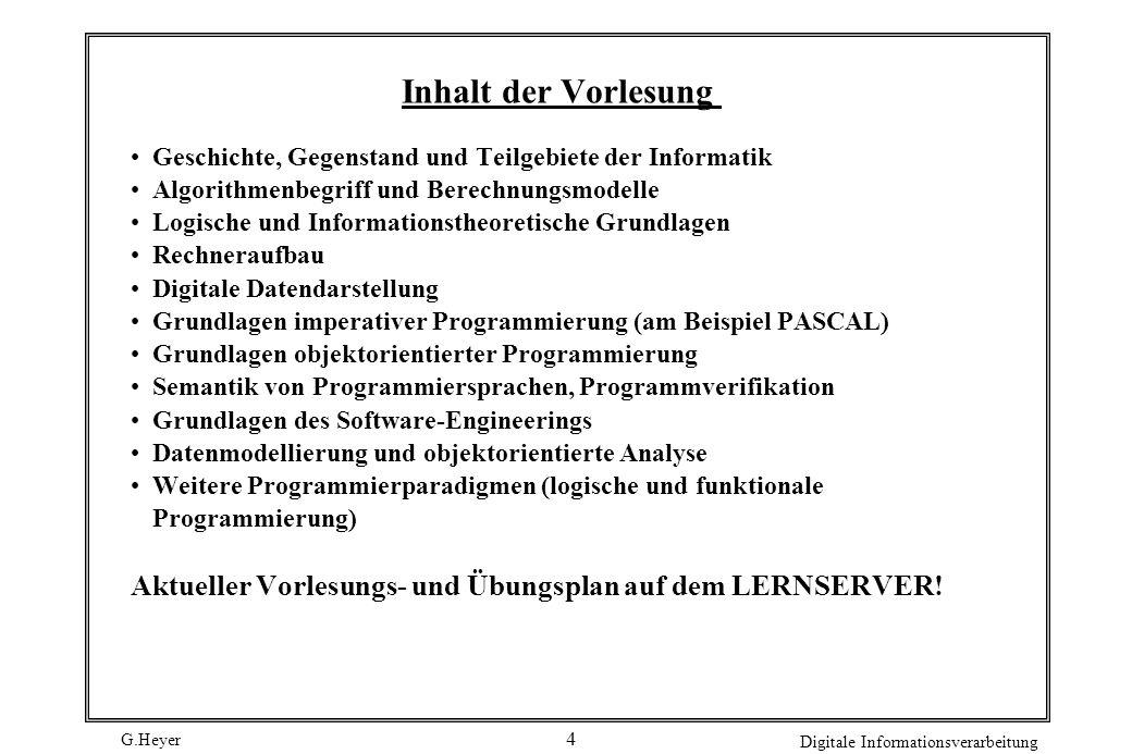 G.Heyer Digitale Informationsverarbeitung 5 Empfohlene Lehrbücher P.