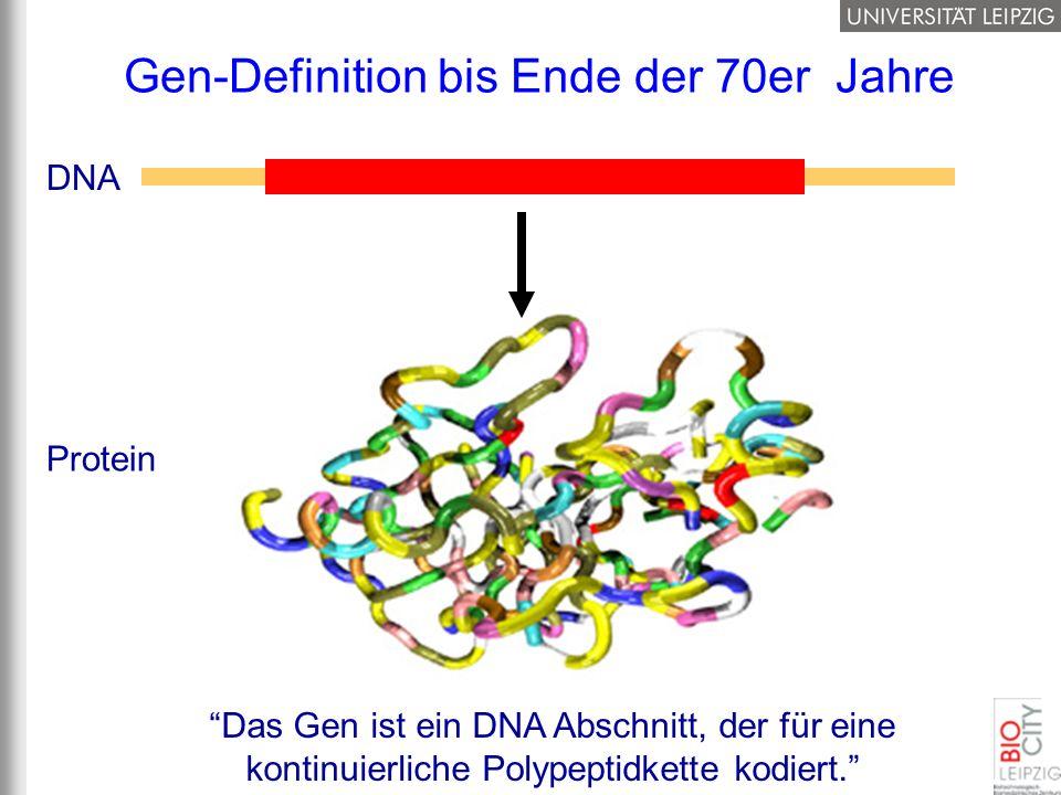 Gen-Definition bis Ende der 70er Jahre DNA Protein Das Gen ist ein DNA Abschnitt, der für eine kontinuierliche Polypeptidkette kodiert.
