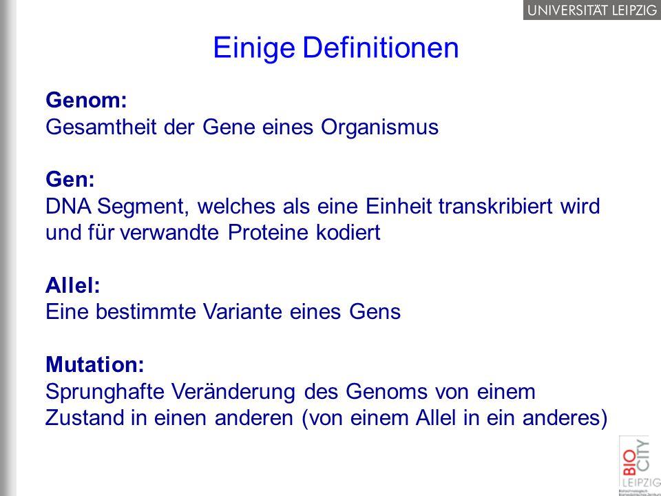 Einige Definitionen Genom: Gesamtheit der Gene eines Organismus Gen: DNA Segment, welches als eine Einheit transkribiert wird und für verwandte Protei
