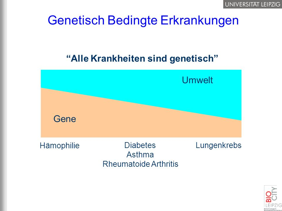 Genetisch Bedingte Erkrankungen Alle Krankheiten sind genetisch Gene Umwelt Hämophilie Lungenkrebs Diabetes Asthma Rheumatoide Arthritis