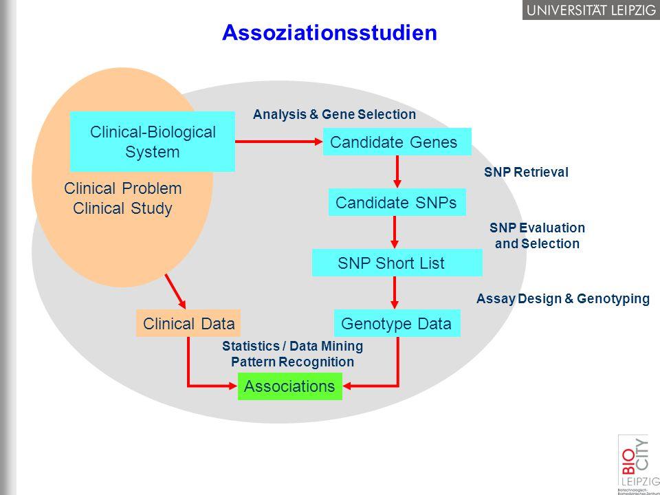 Assoziationsstudien Clinical Data Statistics / Data Mining Pattern Recognition Associations Clinical Problem Clinical Study Clinical-Biological System