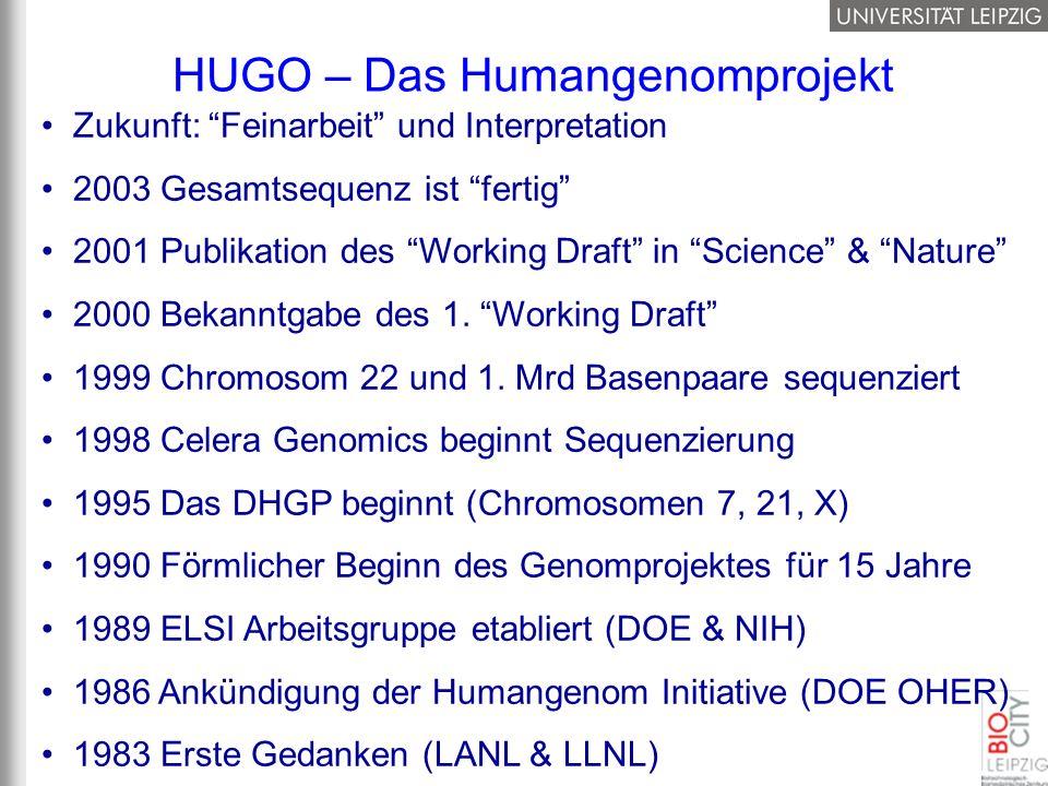 Zukunft: Feinarbeit und Interpretation 2003 Gesamtsequenz ist fertig 2001 Publikation des Working Draft in Science & Nature 2000 Bekanntgabe des 1. Wo