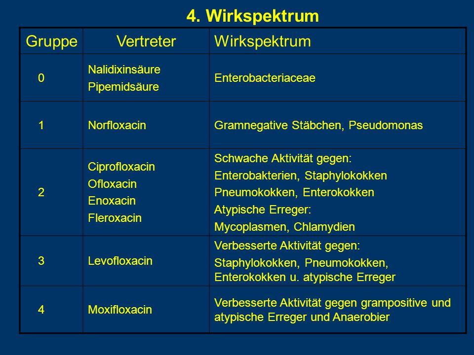 4. Wirkspektrum GruppeVertreterWirkspektrum 0 Nalidixinsäure Pipemidsäure Enterobacteriaceae 1NorfloxacinGramnegative Stäbchen, Pseudomonas 2 Ciproflo