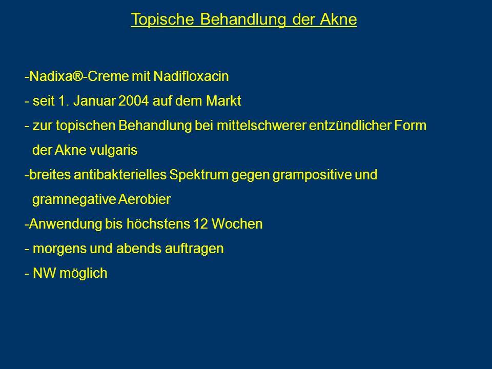 Topische Behandlung der Akne -Nadixa®-Creme mit Nadifloxacin - seit 1. Januar 2004 auf dem Markt - zur topischen Behandlung bei mittelschwerer entzünd