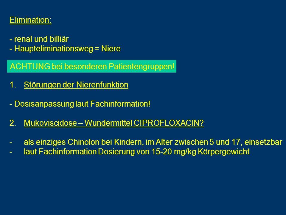 Elimination: - renal und billiär - Haupteliminationsweg = Niere 1.Störungen der Nierenfunktion - Dosisanpassung laut Fachinformation! 2.Mukoviscidose