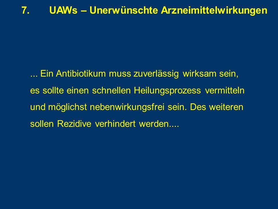 7.UAWs – Unerwünschte Arzneimittelwirkungen... Ein Antibiotikum muss zuverlässig wirksam sein, es sollte einen schnellen Heilungsprozess vermitteln un