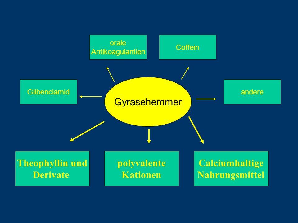 Gyrasehemmer Theophyllin und Derivate polyvalente Kationen Calciumhaltige Nahrungsmittel Glibenclamid orale Antikoagulantien Coffein andere
