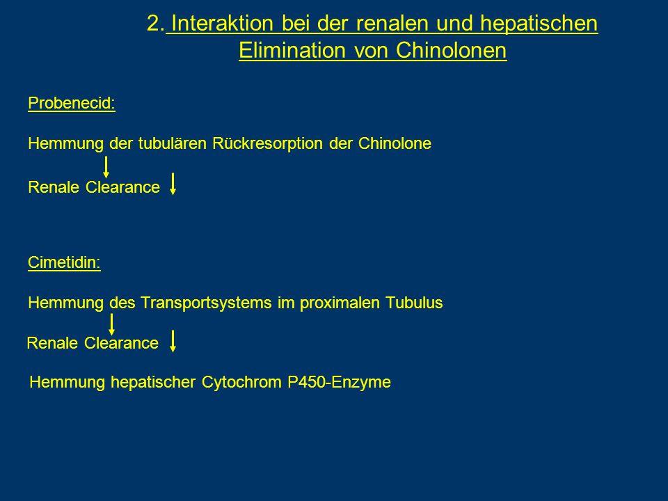 2. Interaktion bei der renalen und hepatischen Elimination von Chinolonen Probenecid: Hemmung der tubulären Rückresorption der Chinolone Renale Cleara