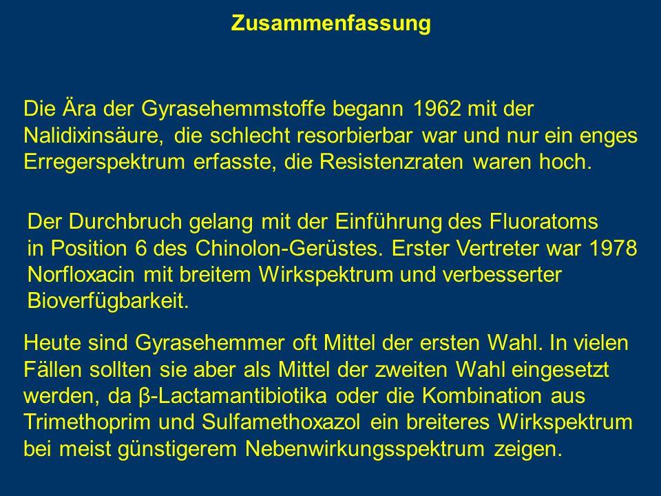 Zusammenfassung Die Ära der Gyrasehemmstoffe begann 1962 mit der Nalidixinsäure, die schlecht resorbierbar war und nur ein enges Erregerspektrum erfasste, die Resistenzraten waren hoch.