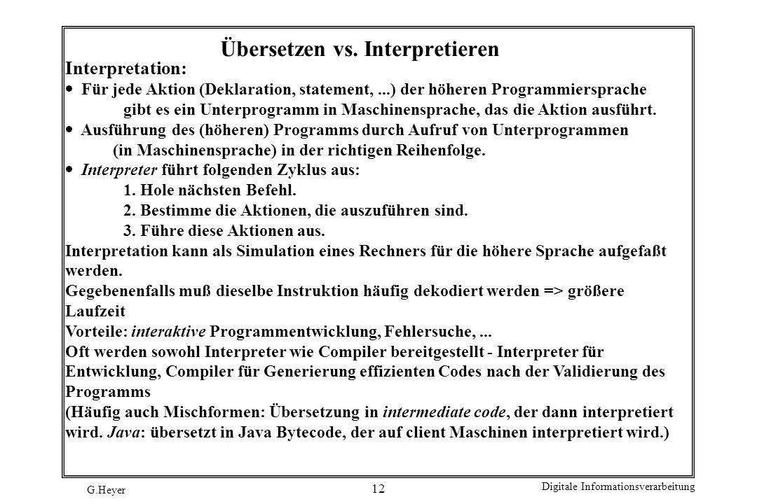 G.Heyer Digitale Informationsverarbeitung 12 Übersetzen vs. Interpretieren Interpretation: Für jede Aktion (Deklaration, statement,...) der höheren Pr