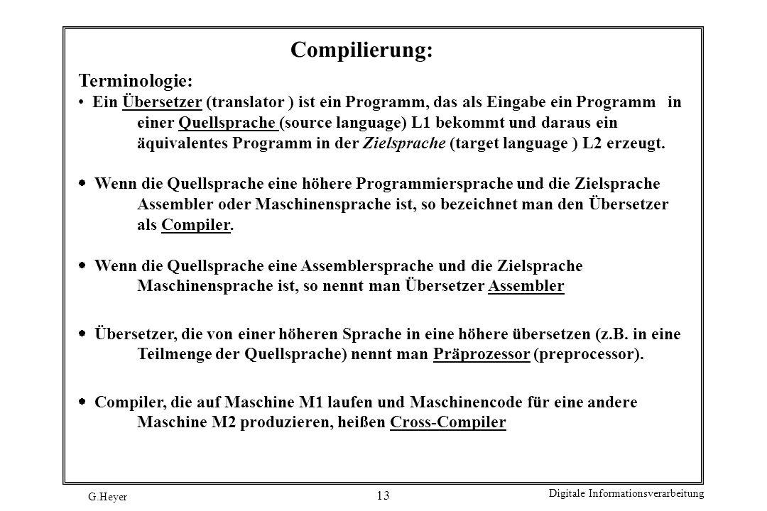 G.Heyer Digitale Informationsverarbeitung 13 Compilierung: Terminologie: Ein Übersetzer (translator ) ist ein Programm, das als Eingabe ein Programm i