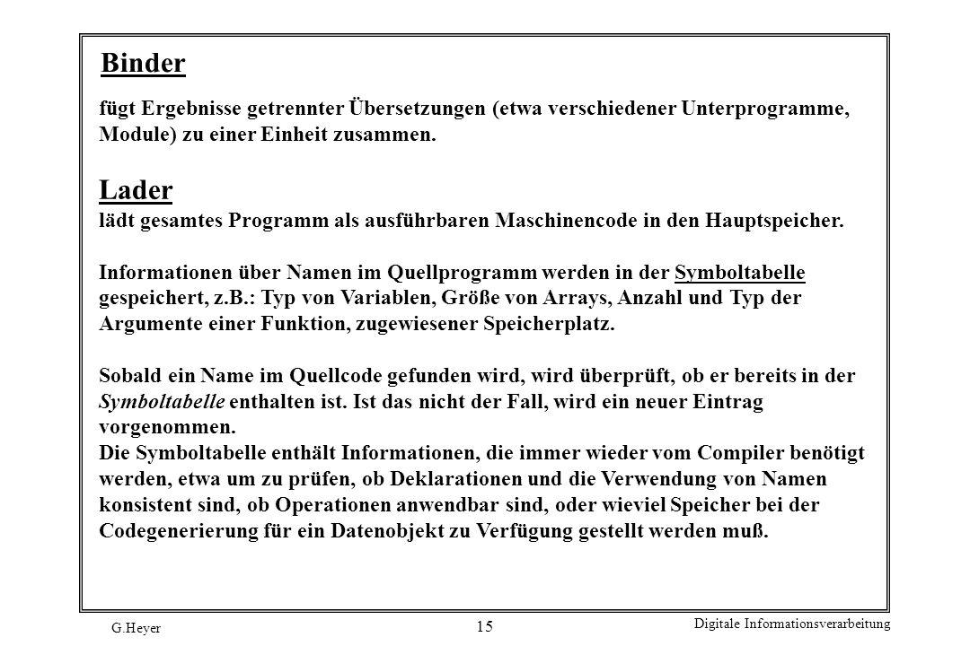 G.Heyer Digitale Informationsverarbeitung 15 Binder fügt Ergebnisse getrennter Übersetzungen (etwa verschiedener Unterprogramme, Module) zu einer Einh