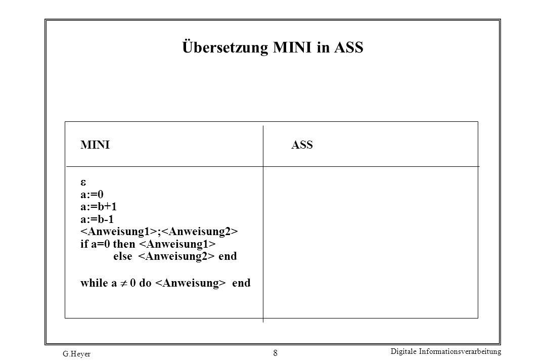 G.Heyer Digitale Informationsverarbeitung 9 Mathematische Maschinen Eine mathematische Maschine M ist ein Tupel M = (I, O, K,,, ) I: Eingabe, d.h.