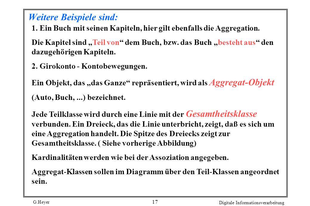 G.Heyer Digitale Informationsverarbeitung 17 Weitere Beispiele sind: 1. Ein Buch mit seinen Kapiteln, hier gilt ebenfalls die Aggregation. Die Kapitel