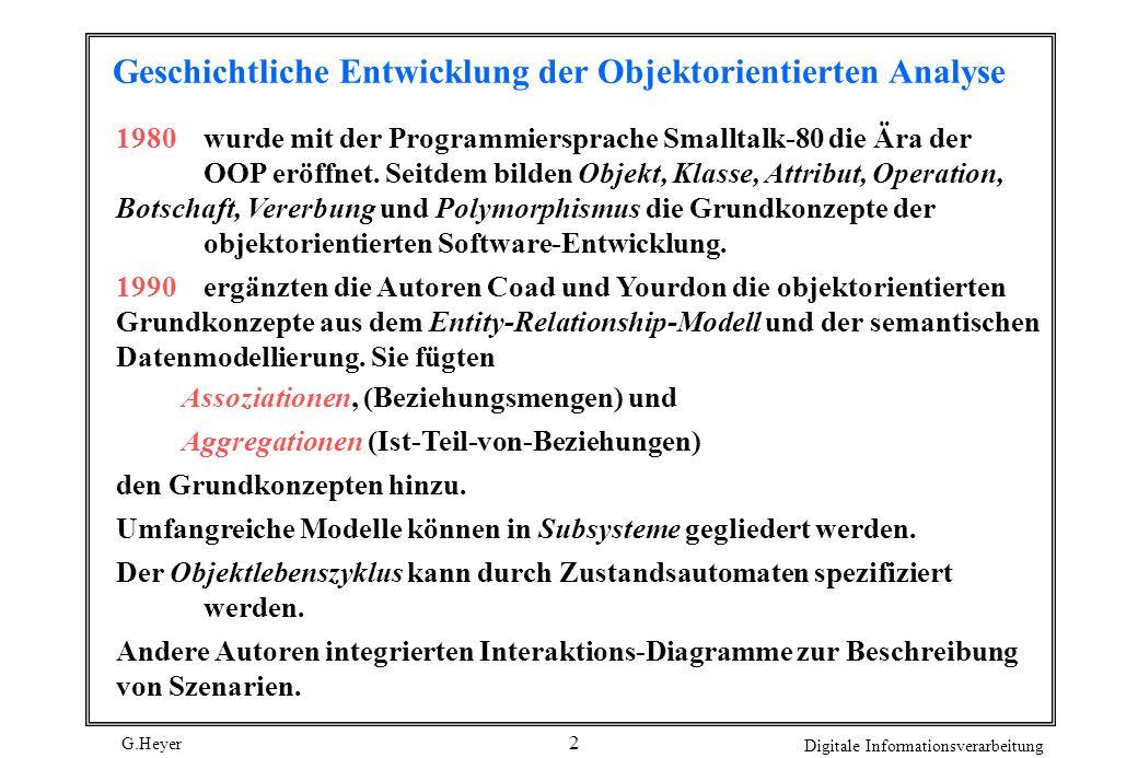 G.Heyer Digitale Informationsverarbeitung 2 Geschichtliche Entwicklung der Objektorientierten Analyse 1980wurde mit der Programmiersprache Smalltalk-8