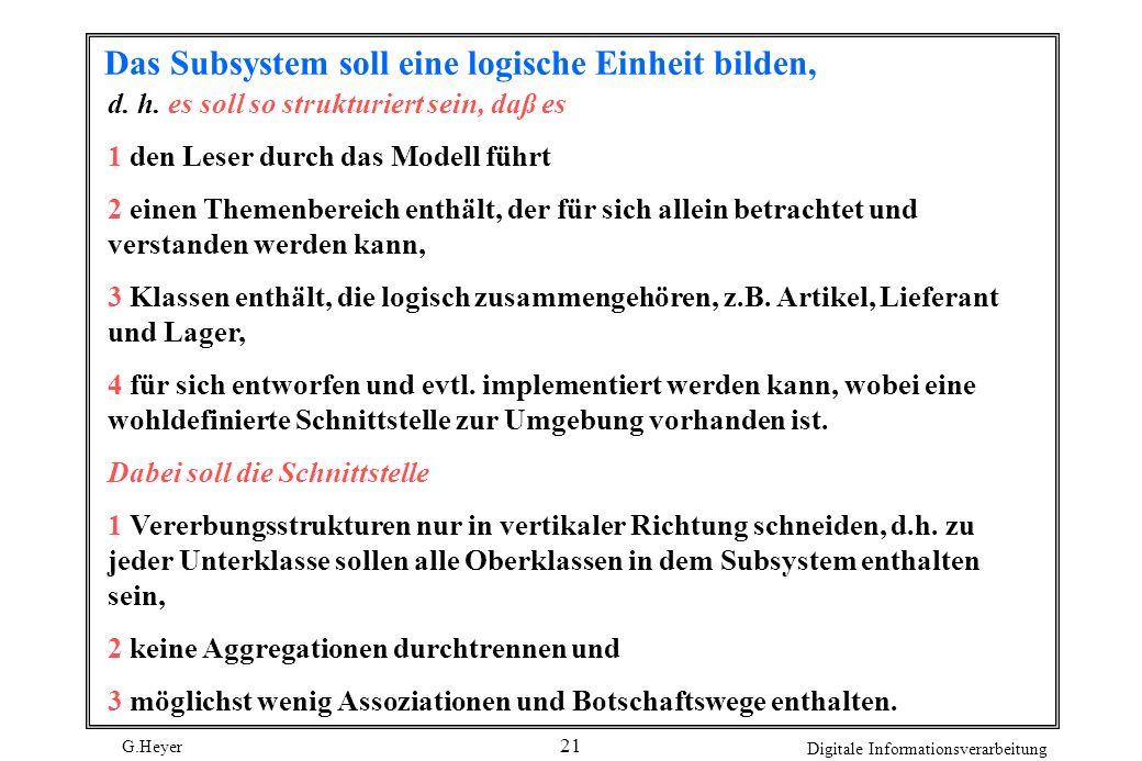 G.Heyer Digitale Informationsverarbeitung 21 Das Subsystem soll eine logische Einheit bilden, d. h. es soll so strukturiert sein, daß es 1 den Leser d