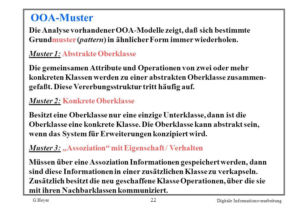 G.Heyer Digitale Informationsverarbeitung 22 OOA-Muster Die Analyse vorhandener OOA-Modelle zeigt, daß sich bestimmte Grundmuster (pattern) in ähnlich