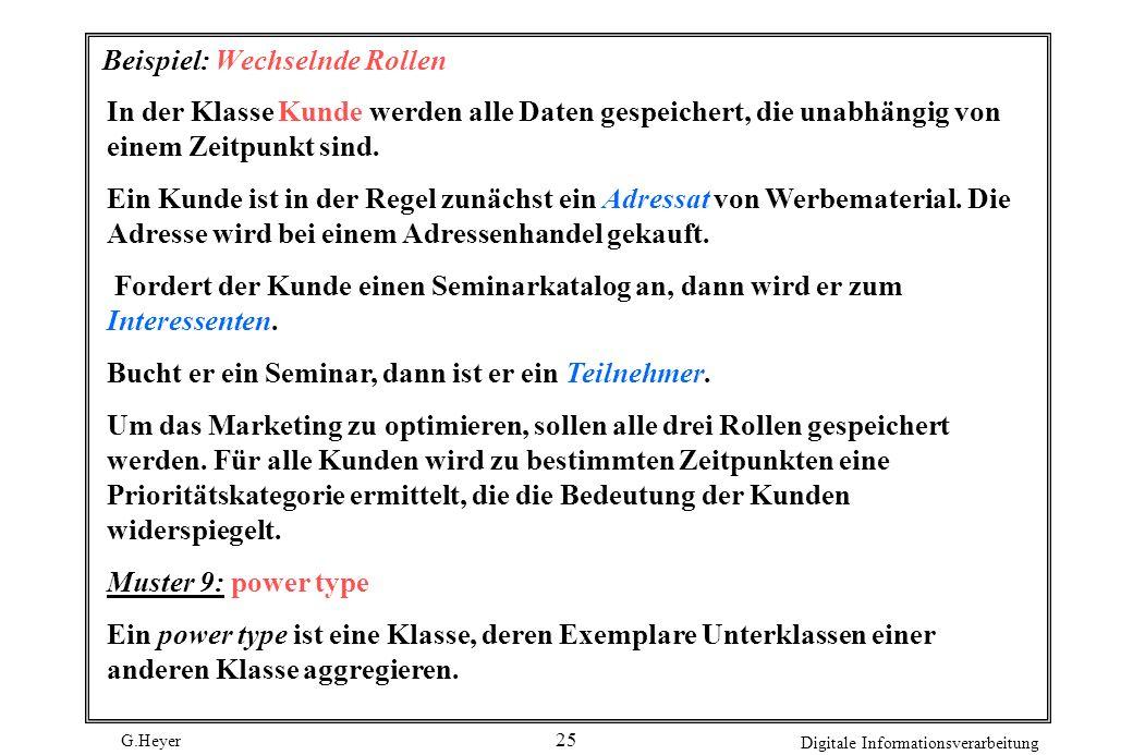 G.Heyer Digitale Informationsverarbeitung 25 Beispiel: Wechselnde Rollen In der Klasse Kunde werden alle Daten gespeichert, die unabhängig von einem Z