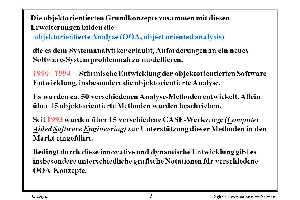 G.Heyer Digitale Informationsverarbeitung 3 objektorientierte Analyse (OOA, object oriented analysis) Die objektorientierten Grundkonzepte zusammen mi