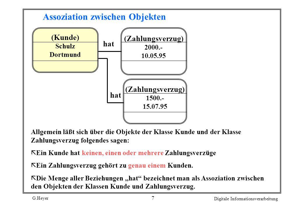 G.Heyer Digitale Informationsverarbeitung 7 Assoziation zwischen Objekten (Kunde) Schulz Dortmund (Zahlungsverzug) 1500.- 15.07.95 (Zahlungsverzug) 20