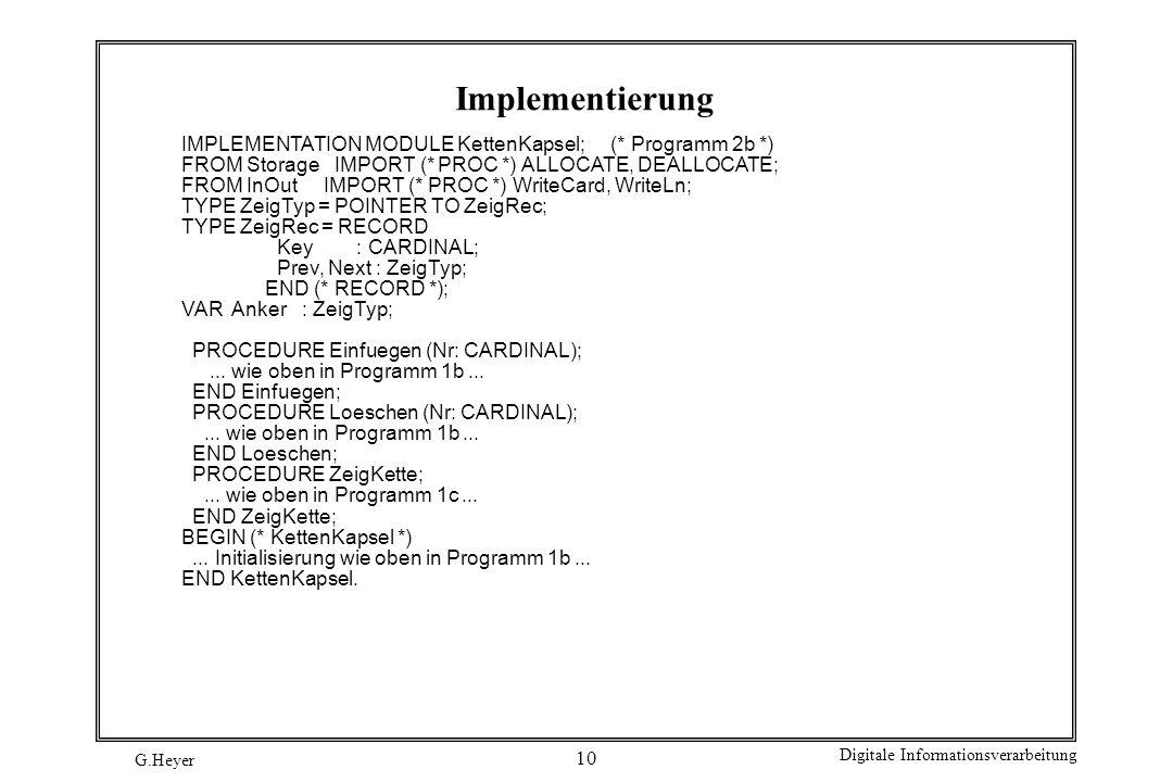 G.Heyer Digitale Informationsverarbeitung 10 Implementierung IMPLEMENTATION MODULE KettenKapsel; (* Programm 2b *) FROM Storage IMPORT (* PROC *) ALLO