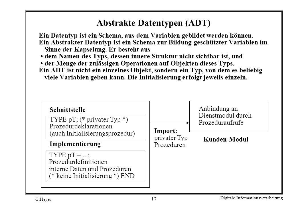 G.Heyer Digitale Informationsverarbeitung 17 Abstrakte Datentypen (ADT) Ein Datentyp ist ein Schema, aus dem Variablen gebildet werden können. Ein Abs