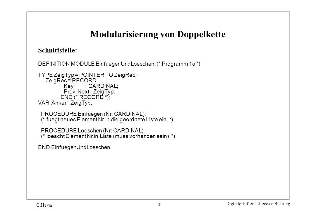 G.Heyer Digitale Informationsverarbeitung 15 Testmodul MODULE KapselTest; (* Programm 4c *) FROM SchlKapsel IMPORT (* PROC *) Bringen, Holen, istLeer, istVoll; FROM InOut IMPORT (* PROC *) ReadCard, Write, WriteLn, WriteCard, WriteString; PROCEDURE WriteB (Value: BOOLEAN); (* Ausgabe von Wahrheitswerten *) BEGIN (* WriteB *) IF Value THEN Write ( T ); ELSE Write ( F ); END; END WriteB; VAR Wert : CARDINAL; BEGIN (* KapselTest *) WriteString ( *** Start Test-Programm f.