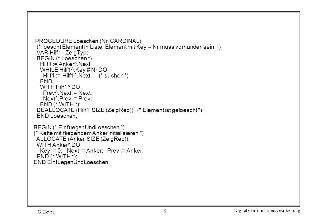 G.Heyer Digitale Informationsverarbeitung 7 Test-Modul MODULE DoppelKette; (* Programm 1c *) FROM InOut IMPORT (* PROC *) WriteCard, WriteLn; FROM EinfuegenUndLoeschen IMPORT (* TYPE *) ZeigTyp, ZeigRec, (* VAR *) Anker, (* PROC *) Einfuegen, Loeschen; PROCEDURE ZeigKette; VAR Hilf1 : ZeigTyp; BEGIN (* ZeigKette *) Hilf1 := Anker^.Next; WHILE Hilf1 # Anker DO WriteCard (Hilf1^.Key, 3); Hilf1 := Hilf1^.Next; END (* WHILE *); WriteLn; END ZeigKette; BEGIN (* DoppelKette *) Einfuegen(7); Einfuegen(1); Einfuegen(4); Einfuegen(5); Einfuegen(9); ZeigKette; Loeschen (1); Loeschen (9); Loeschen (5); ZeigKette; END DoppelKette.