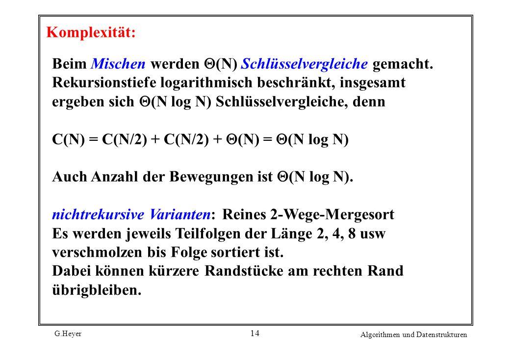 G.Heyer Algorithmen und Datenstrukturen 14 Komplexität: Beim Mischen werden (N) Schlüsselvergleiche gemacht. Rekursionstiefe logarithmisch beschränkt,