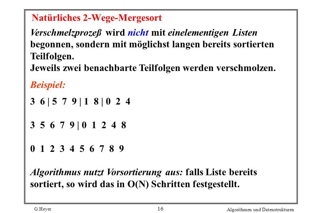 G.Heyer Algorithmen und Datenstrukturen 16 Natürliches 2-Wege-Mergesort Verschmelzprozeß wird nicht mit einelementigen Listen begonnen, sondern mit mö