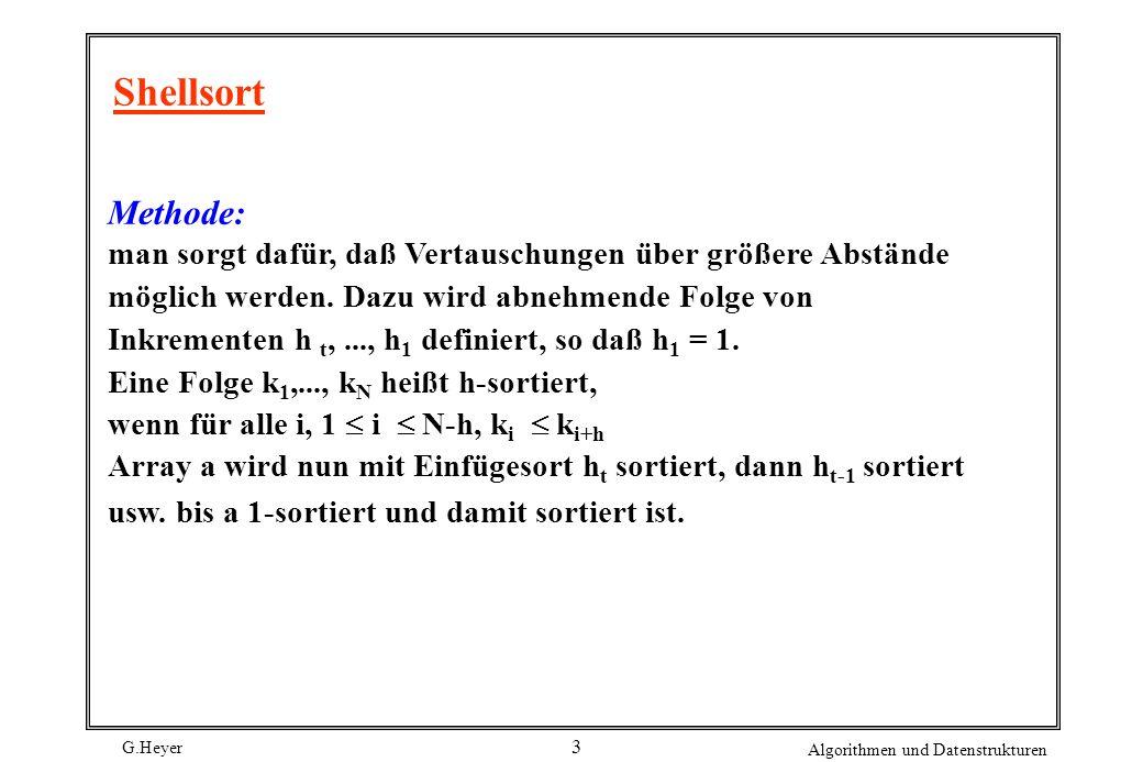 G.Heyer Algorithmen und Datenstrukturen 3 Shellsort Methode: man sorgt dafür, daß Vertauschungen über größere Abstände möglich werden. Dazu wird abneh
