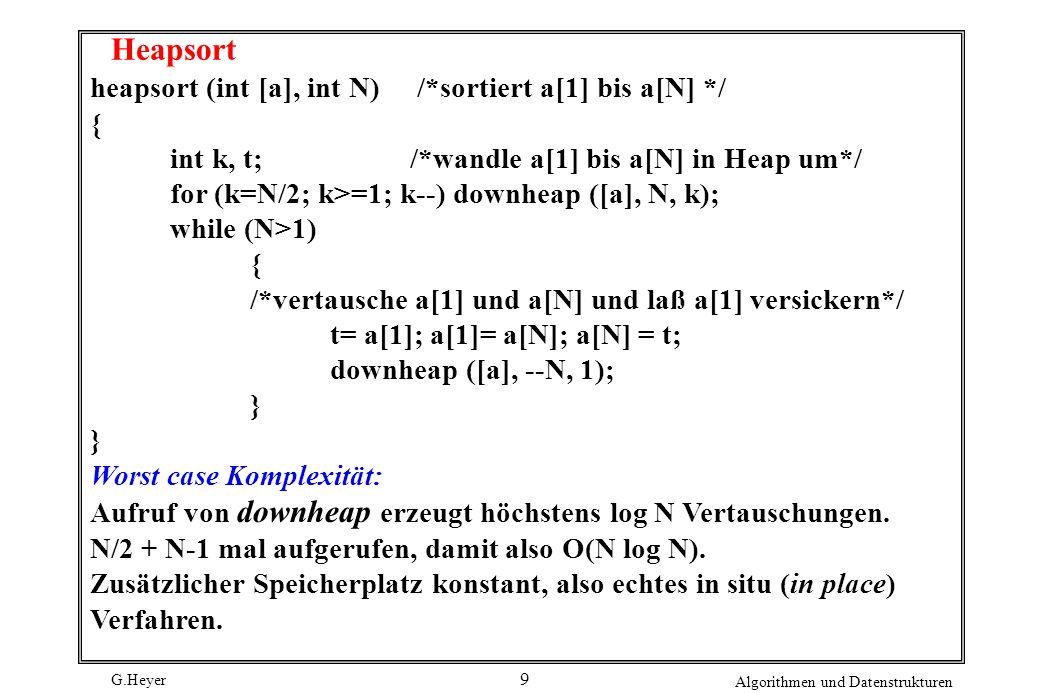 G.Heyer Algorithmen und Datenstrukturen 10 BucketSort Unterbietet n log n im average case: O(n) Voraussetzung: Schlüssel kommen gleichverteilt in festem Intervall vor (hier benutztes Beispiel: Schlüssel aus 0..99) auf Kosten zusätzlichen Speicherplatzes O(n) Idee: Schlüsselintervall wird in n gleichgroße Teilintervalle aufgeteilt.
