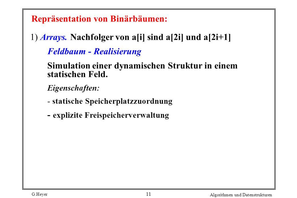 G.Heyer Algorithmen und Datenstrukturen 11 Repräsentation von Binärbäumen: 1) Arrays.