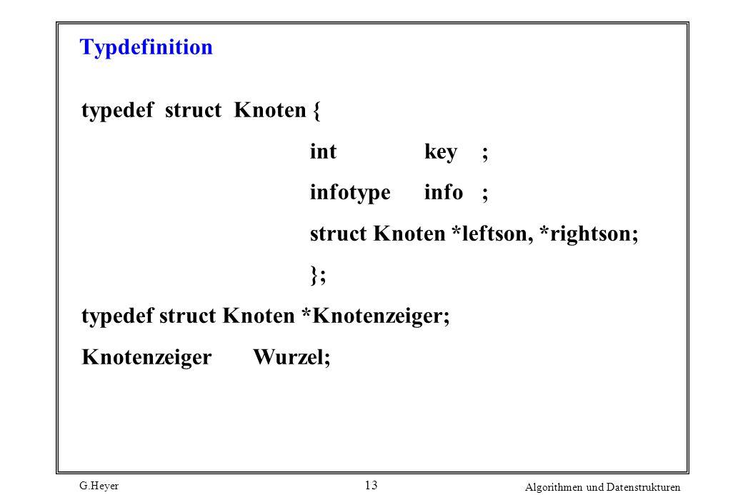 G.Heyer Algorithmen und Datenstrukturen 13 Typdefinition typedef struct Knoten { int key; infotypeinfo; struct Knoten *leftson, *rightson; }; typedef struct Knoten *Knotenzeiger; Knotenzeiger Wurzel;